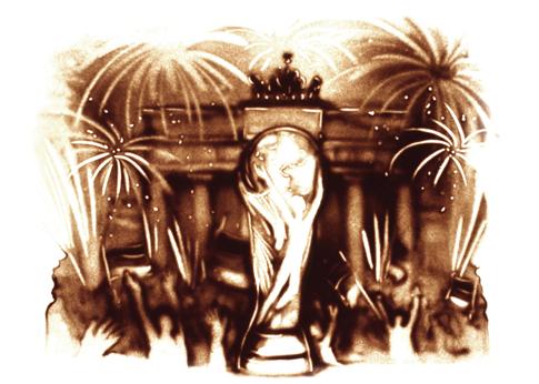 Sandbild des Fußball-WM Pokals vor dem Brandenburger Tor