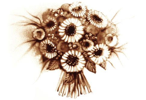 Sandbild eines Blumenstraußes