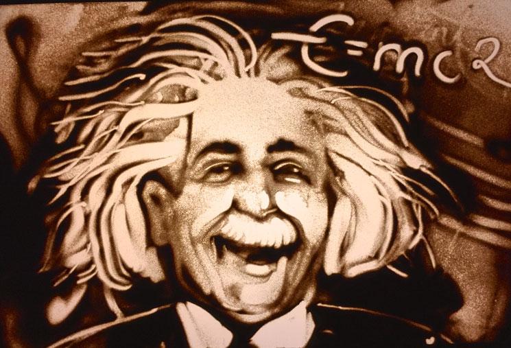 Sandbild von Albert Einstein