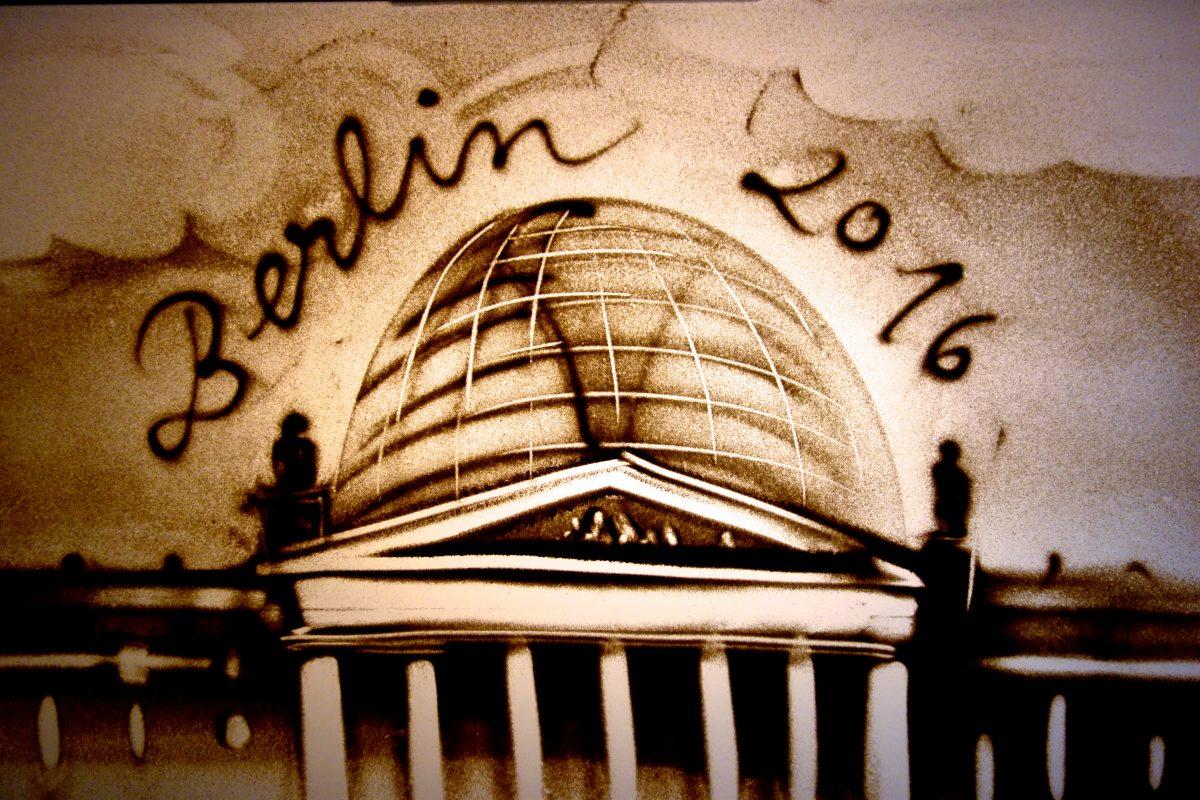 Sandbild vom Brandenburger Tor