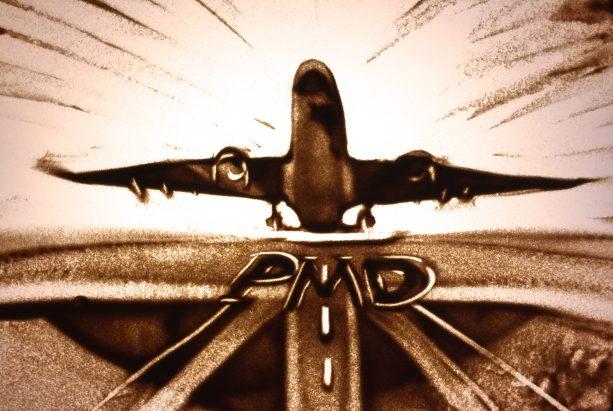 Sandbild eines Passagierflugzeugs