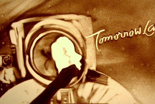 Sandmalerei Astronaut