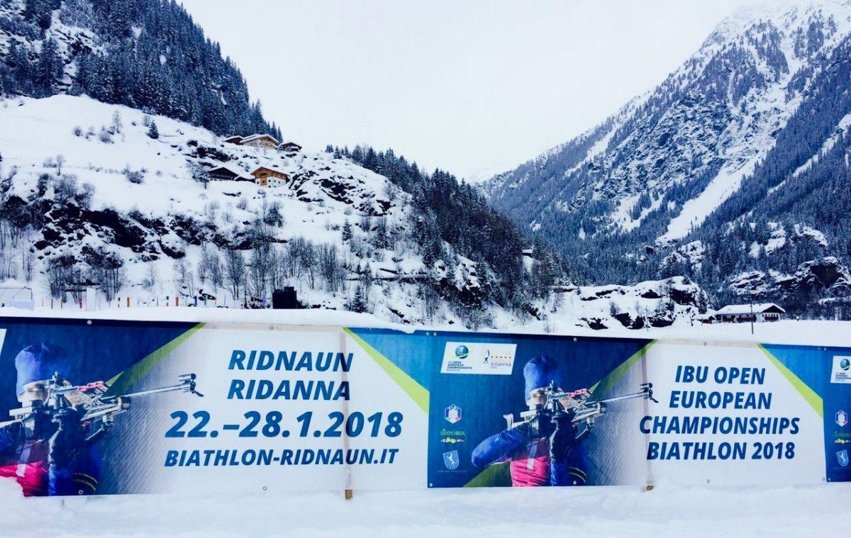 Plakat zur Biathlon EM in Ridnaun