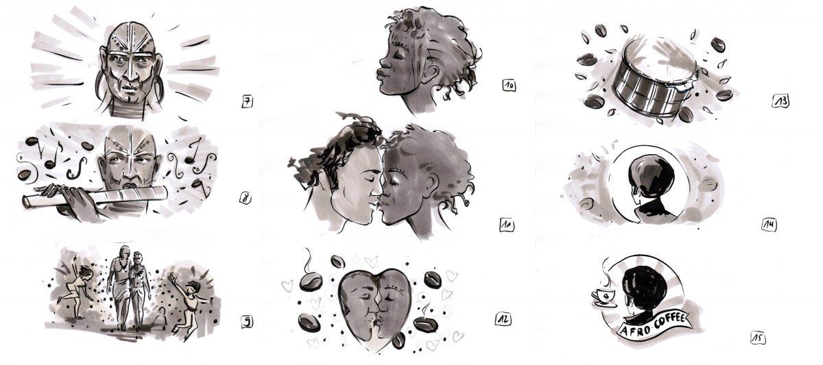 Storyboard für die Sandmalereishow für Afro Coffe