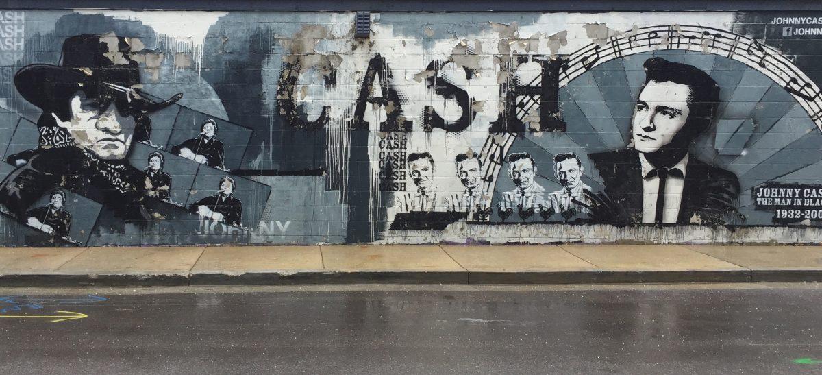 Sandmalerei USA Nashville - Streetart Johny Cash