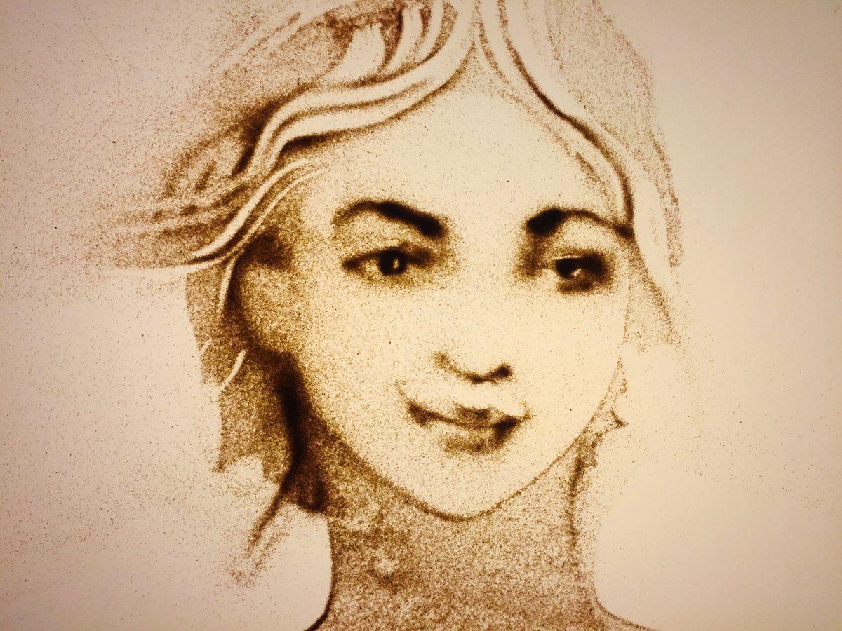 Sandmalerei-Portrait