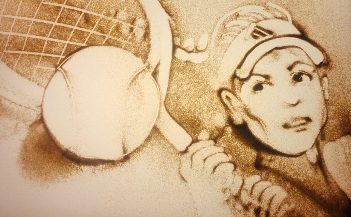 Sportlerin des Jahres in Sand gemalt